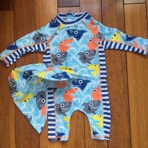 "12m ""baby shark"" one piece swim suit& matching hat"